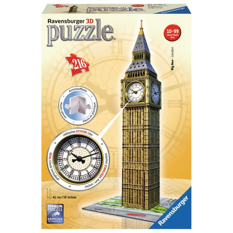 3D PUZZLE 216PCS BIG BEN LONDON WITH REAL CLOCK RAVENSBURGER