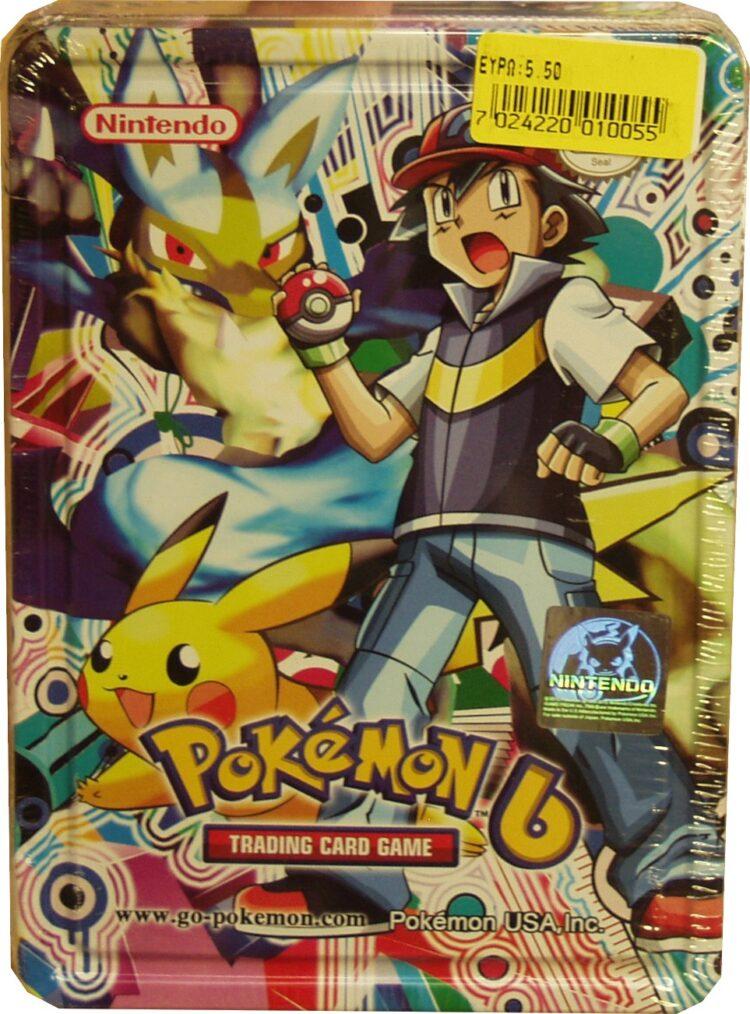 POKEMON 6 TRADING CARD GAME TIN BOX NINTENDO